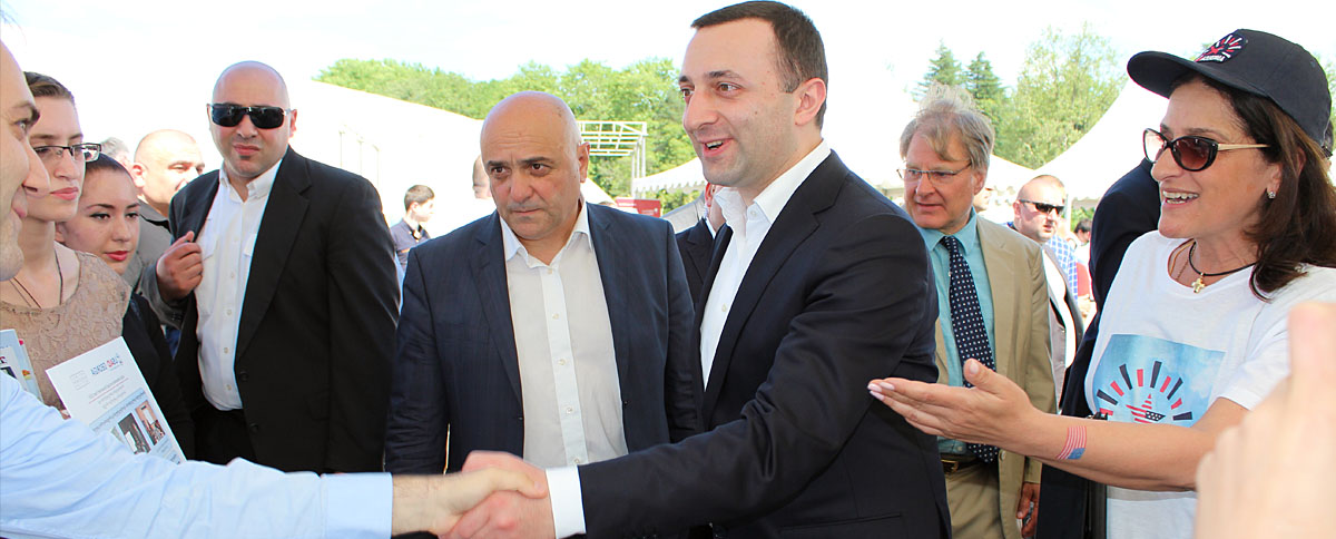 Georgian Prime Minister Irakli Garibashvili and US Ambassador Richard Norland visited the EWMI table in Zugdidi
