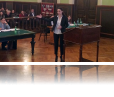 """""""Attorney"""" representing Akaki Tsereteli University questions witness in final round of competition."""
