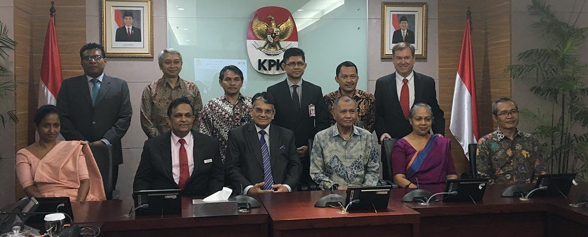 CIABOC, KPK, and EWMI participants gather on April 1, 2019 at KPK's headquarters in Jakarta.