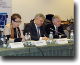 Coalition public forum held in December 2015. (L to R: Douglas Ball, USAID Mission Director; Anna Natsvlishvili, GYLA; Nino Gvenetadze,  Chief Justice; David Usupashvili, Speaker of the Parliament; Alexandre Baramidze,  First Deputy Minister of Justice)